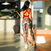 TAUPIN AM TAUPIN AM High Quality Fitness Jumpsuit Sporting Acrylic Patchwork Bodysuit Cross Straps Back Playsuit