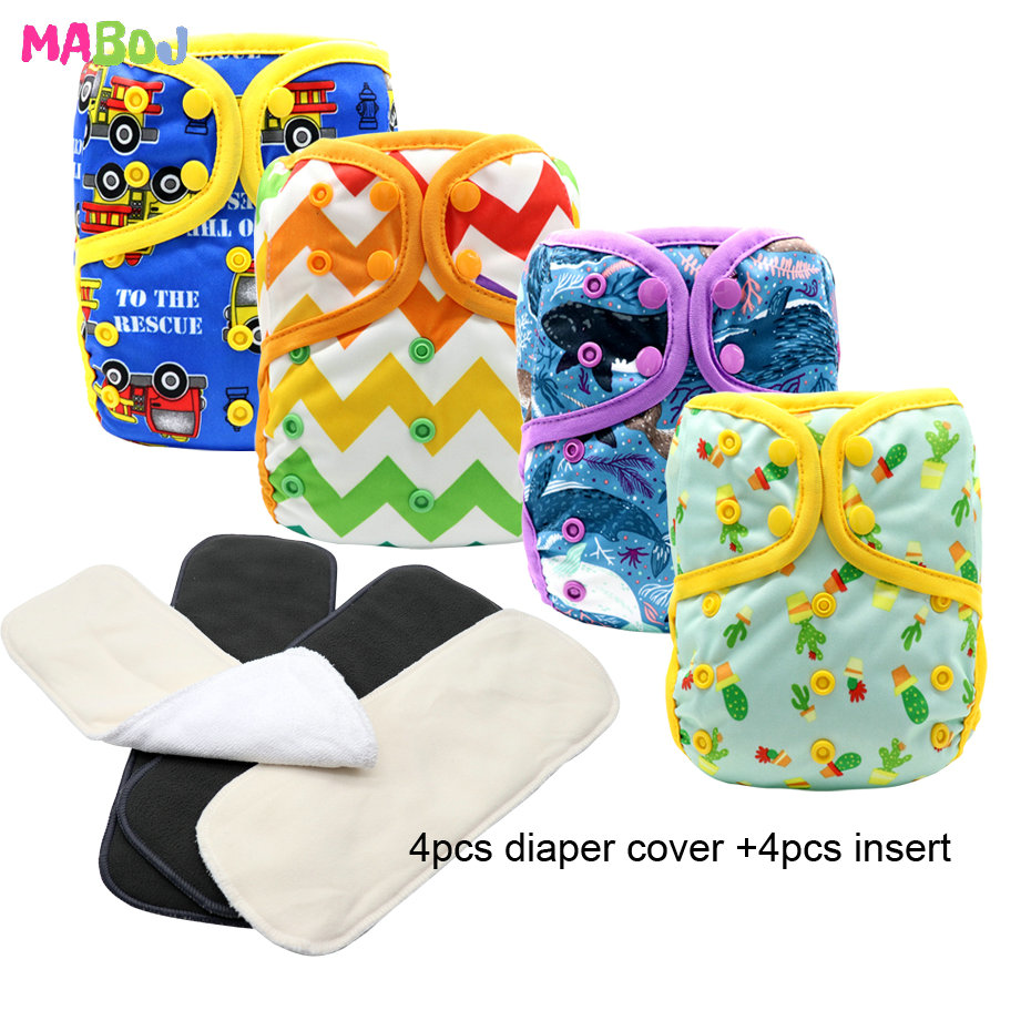MABOJ Diaper Cover 4pcs/set Washable Cloth Diaper Cover Adjustable Nappy Reusable Cloth Diapers OS Cloth Nappy Fit 3-18kg Baby