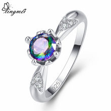 Lingmei novo vem popular moda simples redondo multi & branco cz prata colorring tamanho 6-9 festa feminino jóias