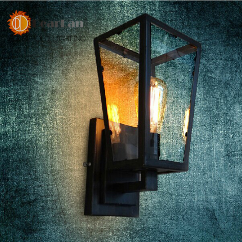 Vintage Iron Glass Box Wall Lamp Dining Room/Industrial House/Corridor/Outdoor  Lighting