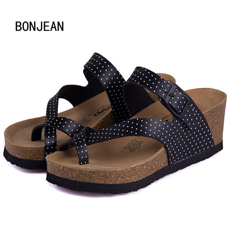 Women Sandals Shoes Cork Shoes Slippers Beach Shoes Wedges Summer Zapatos Mujer Sandalias Femininas High Heels Plus Size 35-40 yierfa fashion new summer cork sandals casual women mixed color flip flops valentine shoes zapatos mujer sandalias size 35 45