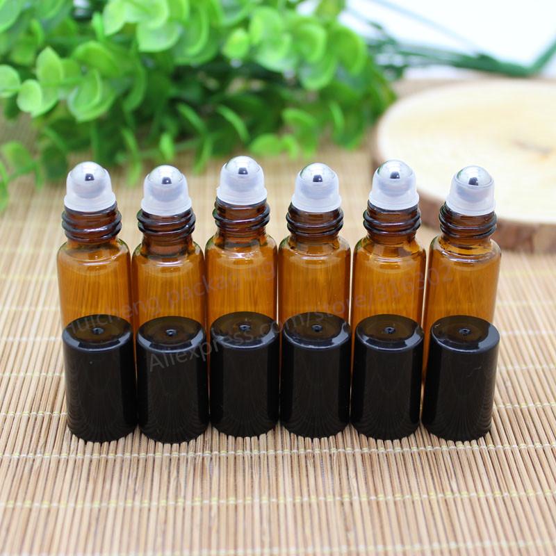 30 pcs 5 ml âmbar roll on garrafas de rolos para óleos essenciais recipientes desodorante roll-on frasco de perfume recarregáveis com tampa preta
