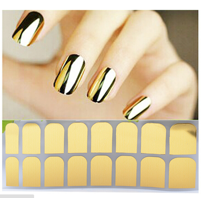 Fashion Metallic Nail Polish Stickers DIY Nail Art Styling Decorations  Stickers Tips Gold And Silver Black