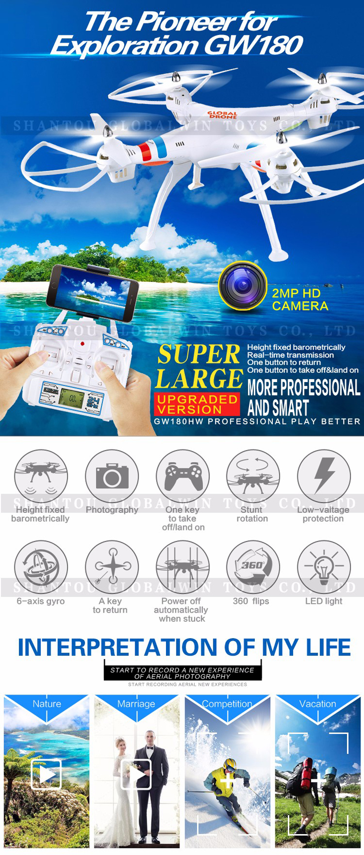 2Global Drone GW180 Dron with Camera WIFI HD FPV Hovering Quadrocopter Can Carry 4K Camera Drones