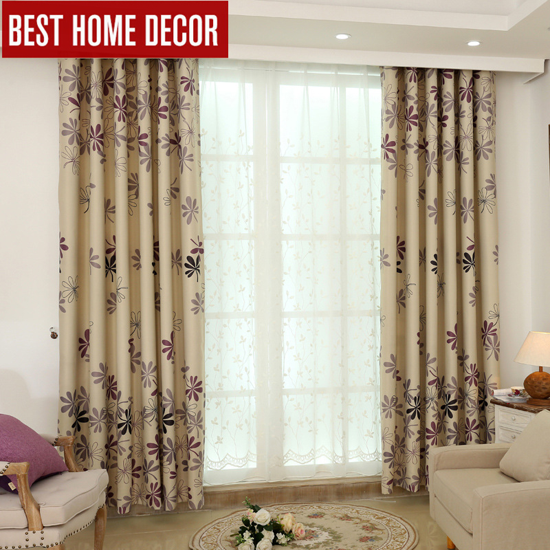 Pastoral Cloth Curtains Voile For Window Blinds Finished Drapes Blackout Living Room The Bedroom