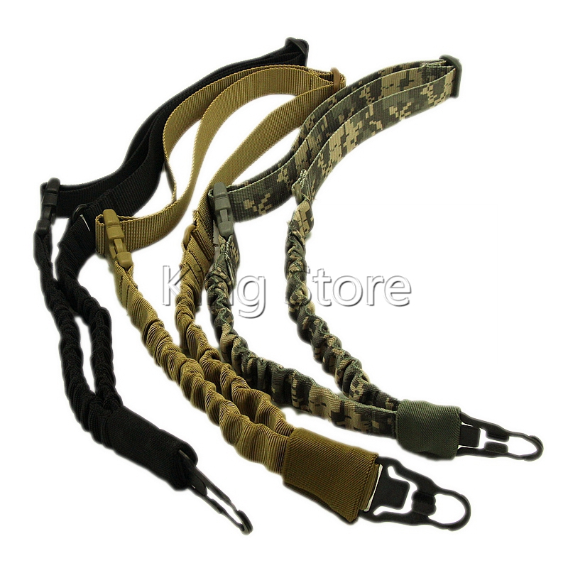 Tactical Airsoft 1 Point Honda Del Arma de Caza Ajustable Bungee Rifle Sling Cor