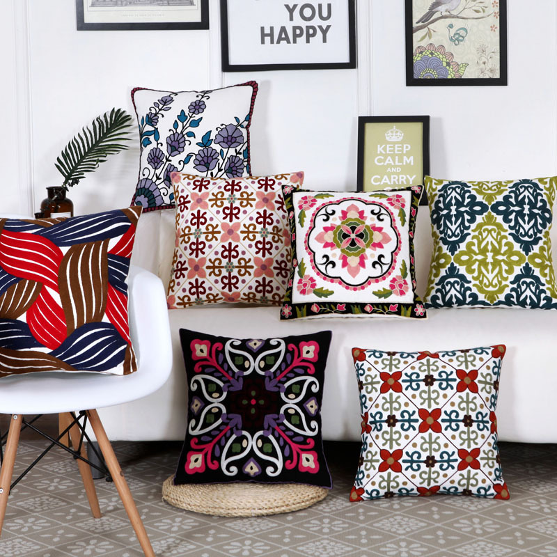 Home Decor Emboridered Colorful Flowers Cushion Covers Grey Red Blue Geometric Canvas Cotton Square Embroidery Sofa Pillow Cover