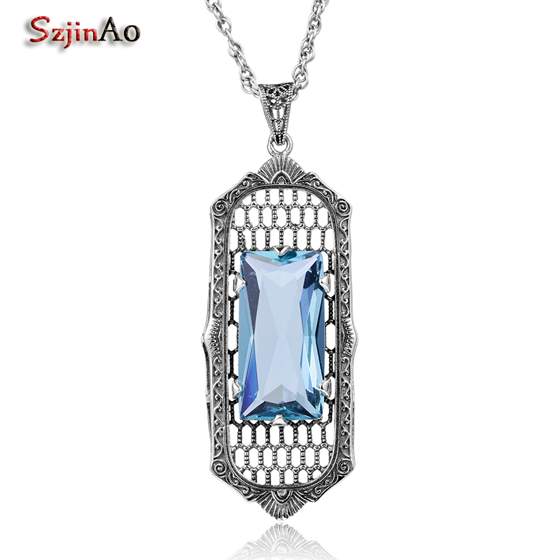 Szjinao Hot Sale Long Pendant For Women Aquamarine Cut 100% 925 Sterling Silver Jewelry Vintage Fashion Attractive Spring Gift