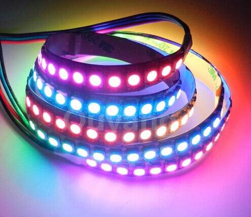 1M 3.ft WS2812 LED Strip Light 5050 SMD 144leds DC5V Drømmefarge Digital Strip Light Ikke-vanntett svart PCB