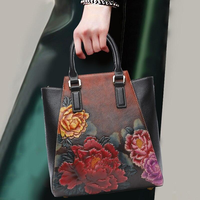 Style National femmes Noble sac à main en cuir de vachette véritable fleur sac poignée supérieure femme poignée sacs épaule sac à bandoulière
