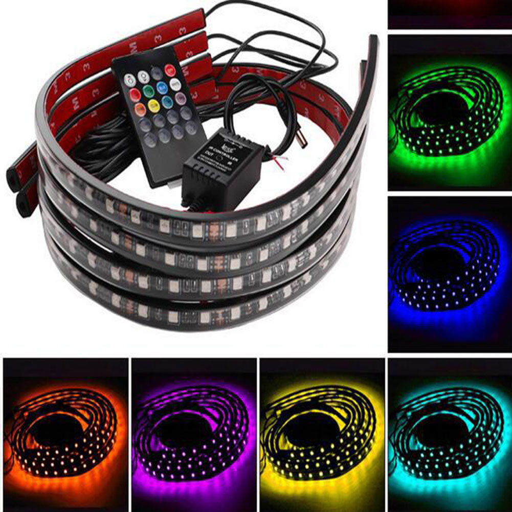 60*90CM 8 Colors LED Strip Under Car Underglow Underbody Glow System Neon Lights Colorful 12v Lamp Universal For BMW BENZ AUDI car styling 7 color led strip under car tube underglow underbody system neon lights kit ma8 levert dropship