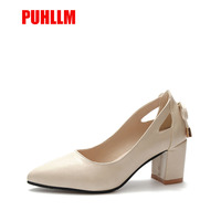 Block Heel High Heels Ms with Versatile Professional Shallow Mouth Comfort Commute Pointed Shoes Black Work Shoes