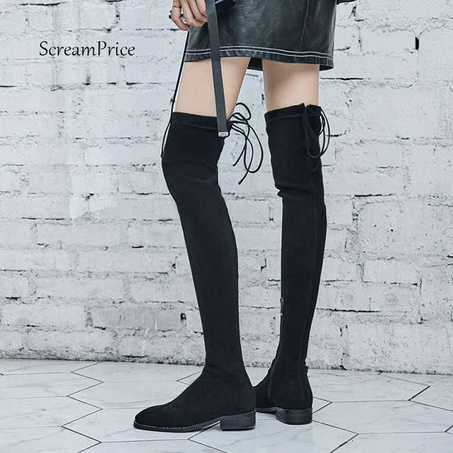 daaa9e26961 Online Shop Suede Thigh High Flat Boots Women Over the Knee Boots Comfort  Fall Winter Zipper Boots Fashion Shoes Woman Black Gray 2018