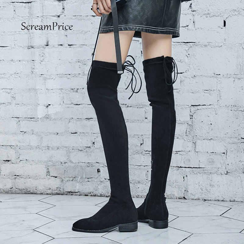 Wildleder Oberschenkel Hohe Flache Stiefel Frauen Über das Knie Stiefel Komfort Herbst Winter Zipper Stiefel Mode Schuhe Frau Schwarz Grau 2018