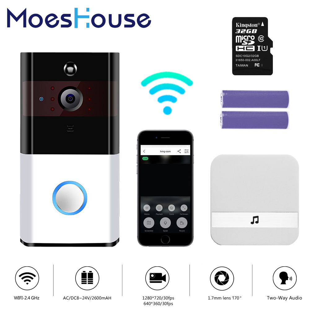 WiFi Wireless Video Doorbell 720P With Chime And Battery Real-Time Video Two-Way Talk Night Vision PIR Motion Detection