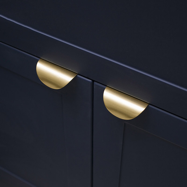 Simple Brass Knob and Handle Invisible Leaf Shape Handle Wardrobe/Cabinet Handle Golden Drawer Pull Gold Furniture Handle 4