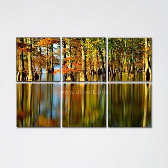 Cheap home decoration painting custom canvas prints of forest tree multiple panel modular wall pictures for