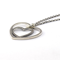 100 925 Sterling Silver Necklace Pendant Love Heart Charm Pendants Compatible With European Pandora Jewelry 2015