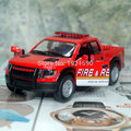 Brand New KINGSMART 1/46 Scale USA 2013 Ford F-150 SVT Raptor Pickup (Fire & Rescue) Diecast Metal Pull Back Car Model Toy