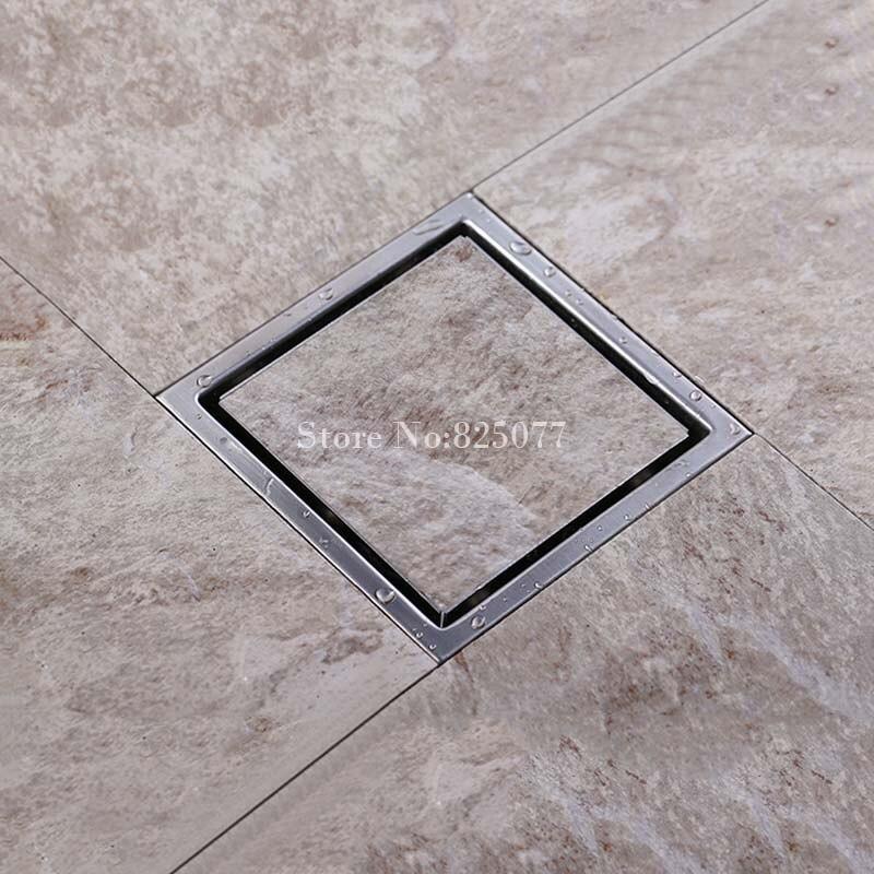 1 pièces haute qualité carré brossé 304 en acier inoxydable plancher Drain douche déchets grille 110mm x 110mm ED13