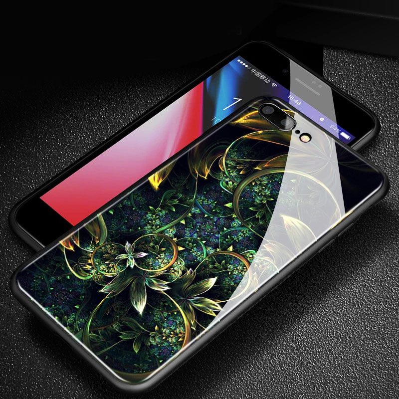 ABSTRACT FRACTAL ART Aesthetic Flora Fauna Art Glossy Tempered Glass Phone Case Shell Cover For Apple iphone 6 6S 7 8 Plus X 10