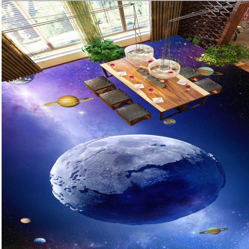 ФОТО Free shipping 3d flooring custom living room bathroom self-adhesive photo wallpaper Dazzling Star Planet Space thickened floor