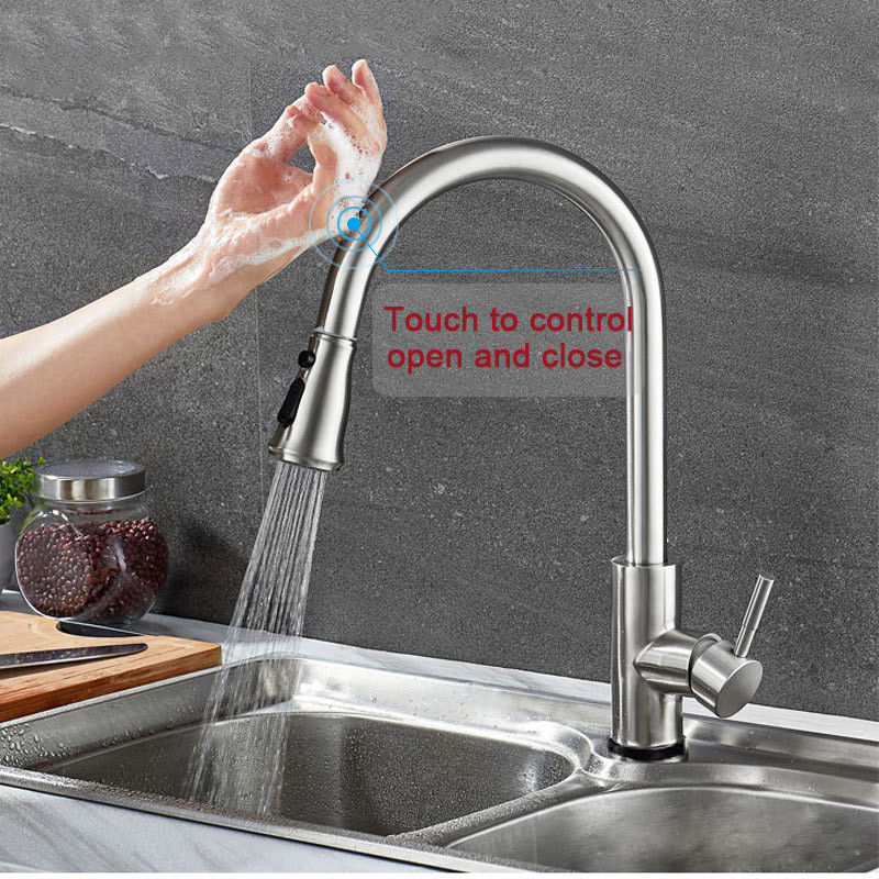Kitchen Sink Faucet Touch Activated Stainless Steel Smart Touch Sensor Mixer Sprayer Spouts Kitchen Sink Bar Vessel Sink Mixer