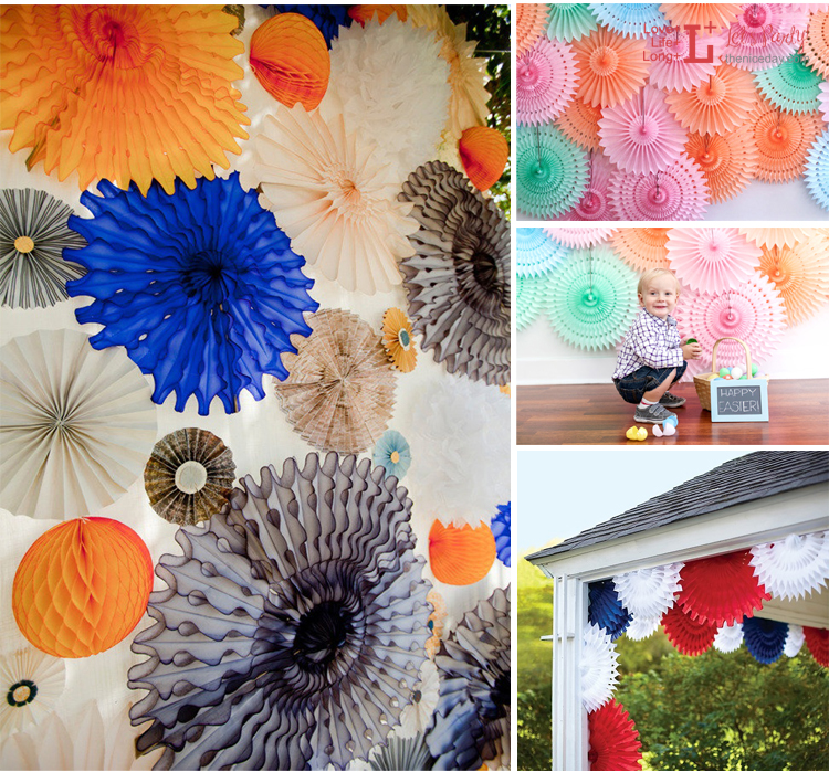 birthday party decorations kids cheap 20cm hollow out paper folding fan diy wedding party supplies tissue - Cheap Decorations