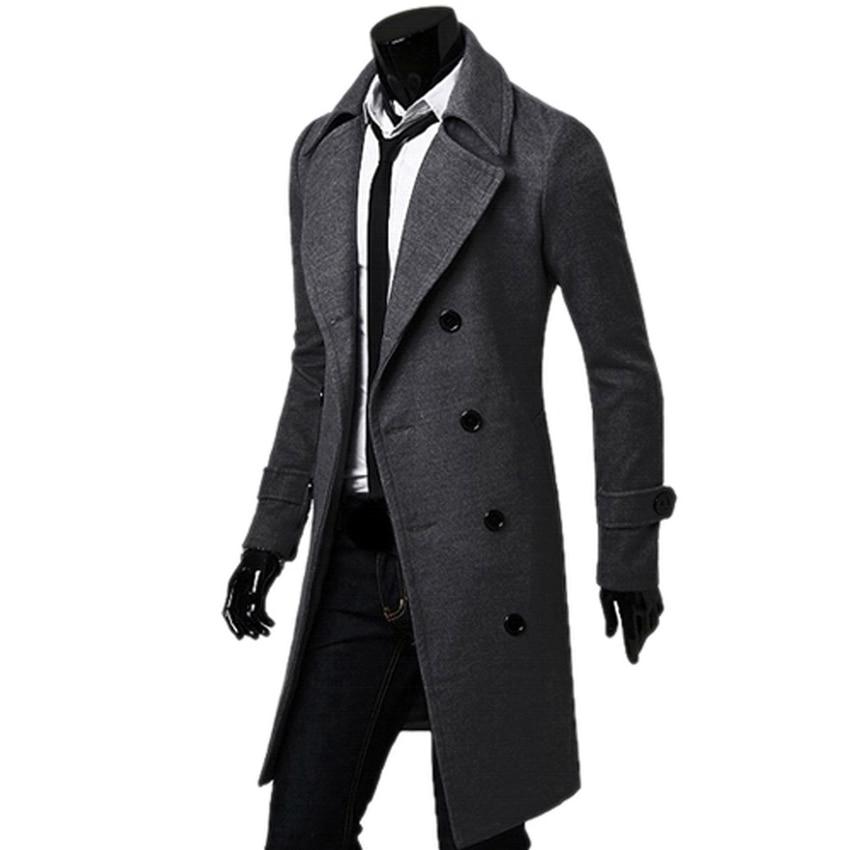 Black/Camel/Dark Grey Male Trench Coat British Style Double ...