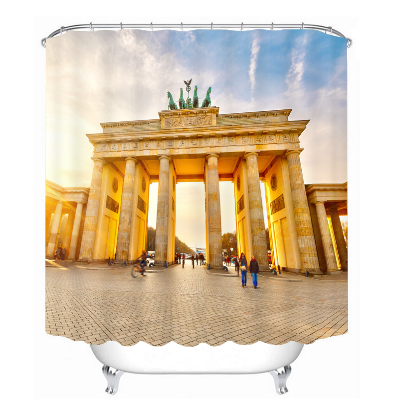 Customize 3D Shower Curtains Berlin Brandenburg Gate Classical Buildings Pattern Waterproof Washable Fabrics Bathroom Curtains