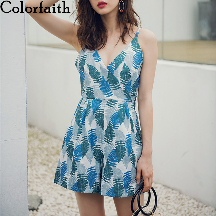 Colorfaith 2019 Summer Women Jumpsuits Rompers Playsuit Beach Holiday Printed Sexy Backless Strap Shorts Casual V-Neck JS9043