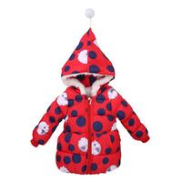 Children Girls Winter Clothes Down Parkas Hooded Cartoon Dot Cotton-padded Coat Warm Kids Outwear White Red Black