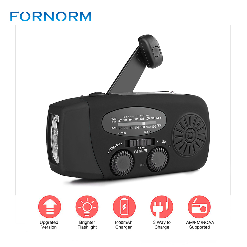 New Portable Solar Radio FM Hand Crank Self Powered Phone Charger 3 LED Flashlight AM/FM/WB Radio Waterproof Emergency Survival protable am fm radio hand crank generator solar power radio with flashlight 2000mah phone charger