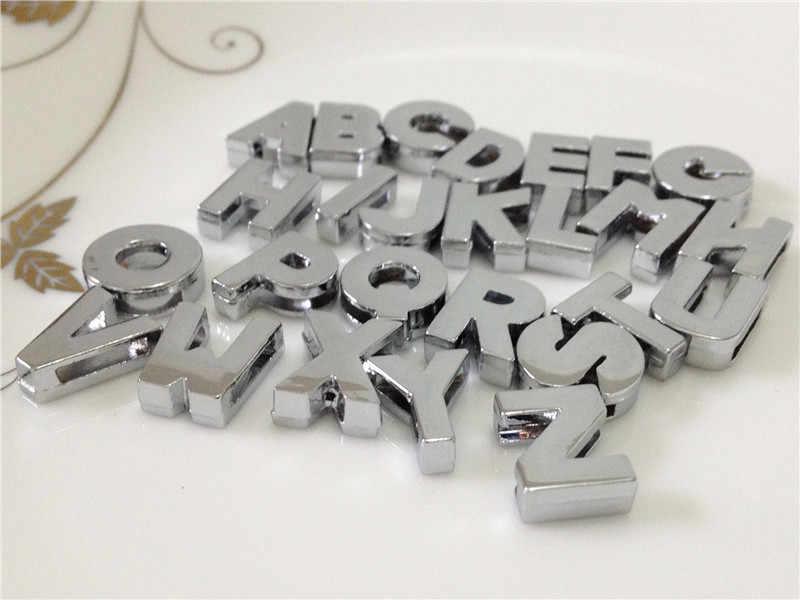 """8mm diy prata suave rosto slide letras """"A-Z"""" letras escolher livremente caber 8mm diy cinto pulseira sl08"""