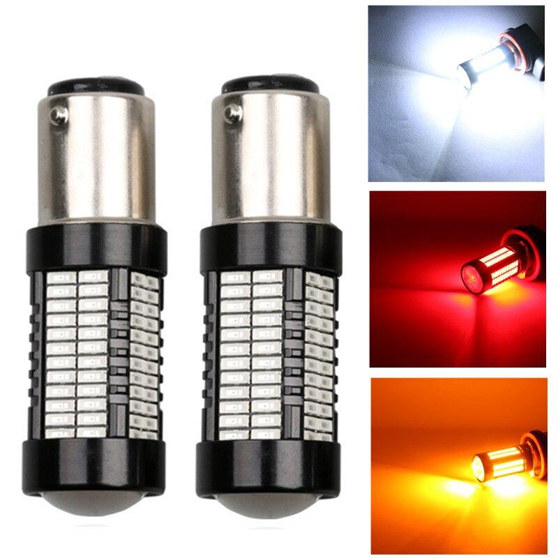 2pcs 1157 BAY15D Bulbs 108 led 4014 smd High Power lamp brake Lights Red p21/5w led car bulbs Car Light Source 12V white
