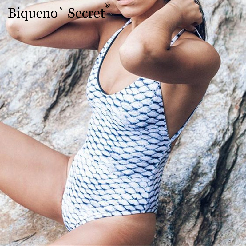 2018 Sexy Women One Piece Bikini Swimsuit Beach Backless Swimwear Pads Print Bathing Suit Female Biknis Swimming Suit For Woman