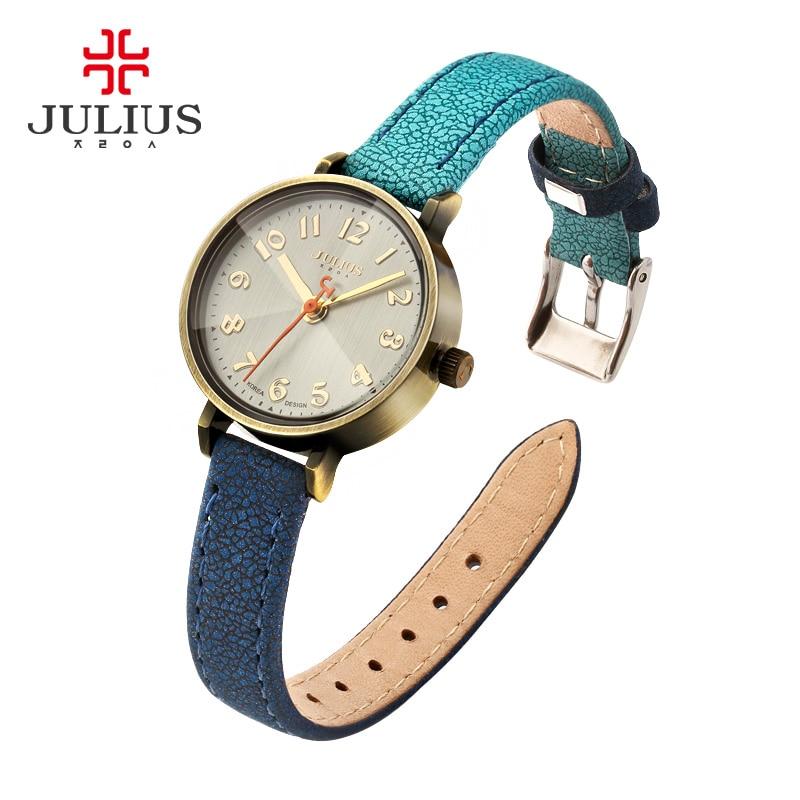 Prix pour Bleu jeans montre femmes antique quartz julius montres de luxe marque casual cool gradient bracelet en cuir bronze whatch horloge ja-855