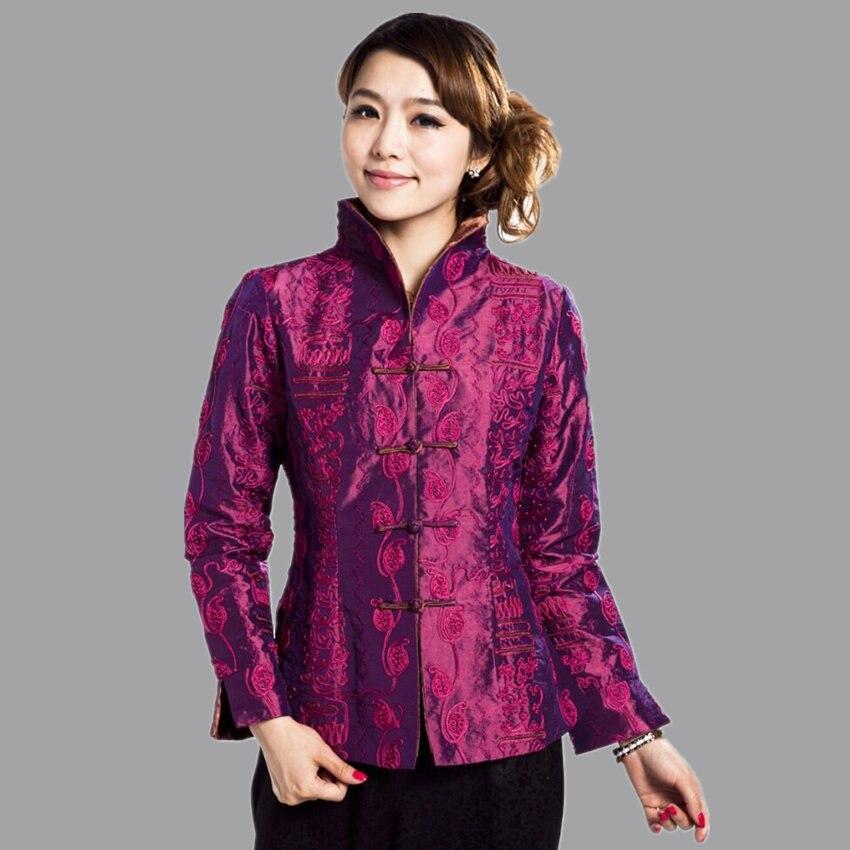 Moda primavera púrpura Mujeres chinas de satén de seda bordado Chaqueta escudo f