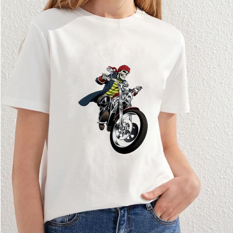 2018 Vacker Skull Utskrift T-shirt Kvinnor Fashion Streetwear T-shirt - Damkläder - Foto 5