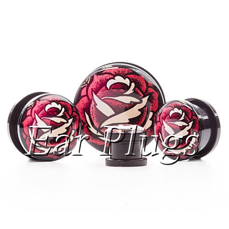 1 pair old shcool rose ear plug gauges tunnel acrylic screw flesh tunnel body piercing jewelry PAP0506