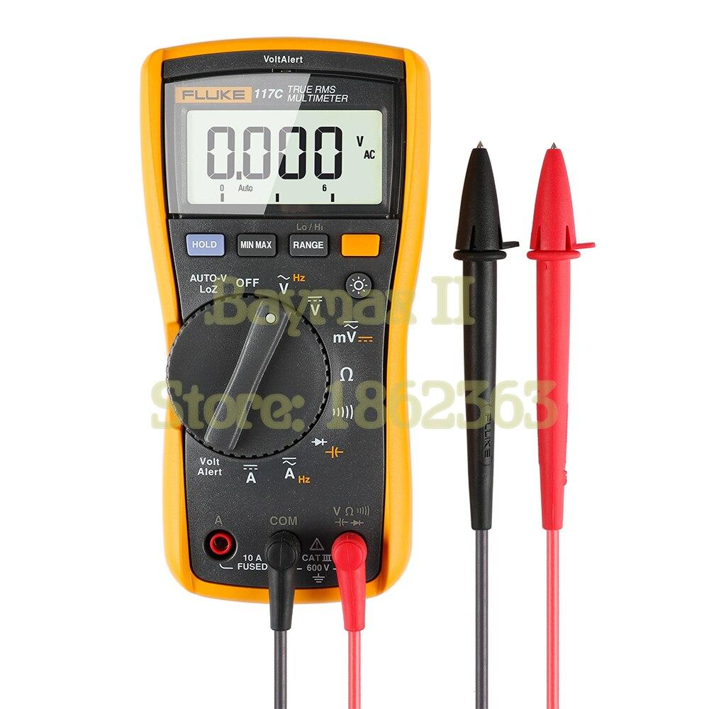 Fluke 117C True RMS авто Напряжение цифровой мультиметр с AC/DC тока, емкость, сопротивление, измерения частоты