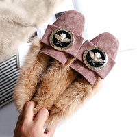 Women Fur Loafers Natural Rabbit Furry Suede Flats Bee Slip On Warm Winter Plush Insole Shoes Big EuroSize 33 43