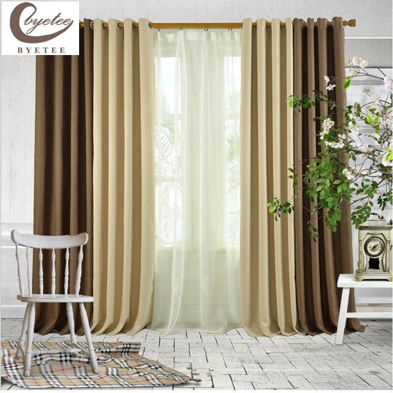 cortina de la sala de estar de moda dormitorio chino ventana cortinas de puertas de cocina mordern color slido visillos para ve