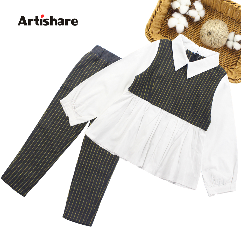 Girls Clothes Patchwork Blouse Girl School Clothing Set Shirt + Striped Pants 2PCS Children's Clothing Set 6 8 10 12 13 14 Year