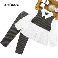 Odzież dla dziewczynek patchworkowa bluzka dziewczyna odzież szkolna zestaw koszula + spodnie w paski 2 szt. Odzież dziecięca zestaw 6 8 10 12 13 14 rok