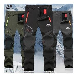 Image 1 - MAZEROUT Man Winter Fishing Waterproof Camping Trekking Fleece Outdoor Hiking Pants Climbing skiing Softshell Trouser Travel 6XL
