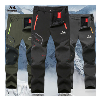 MAZEROUT Man Winter Fishing Waterproof Camping Trekking Fleece Outdoor Hiking Pants Climbing skiing Softshell Trouser Travel 6XL ray grace winter outdoor trekking hiking softshell pants women waterproof mountain climbing thermal trousers female pantalon