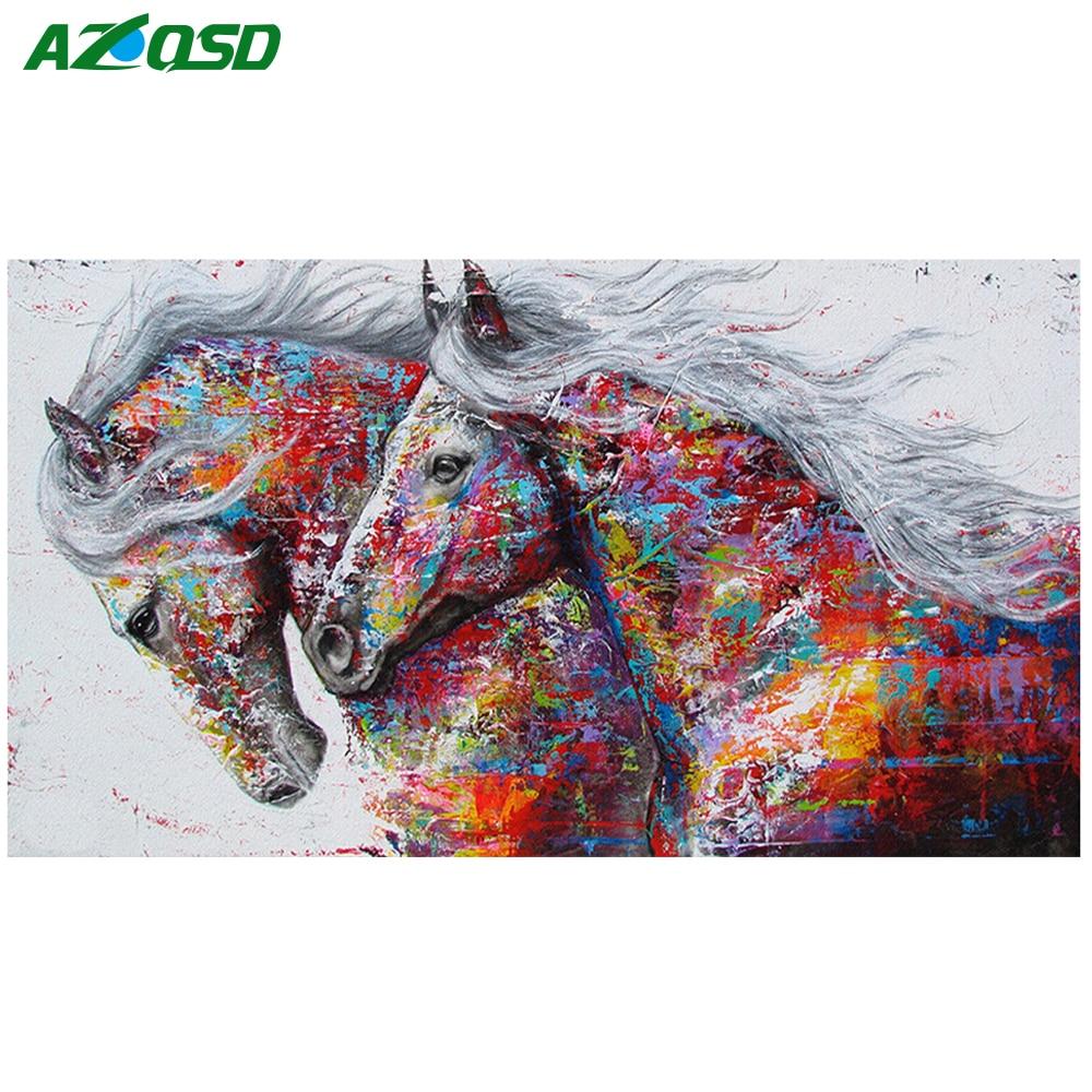 AZQSD Diamond Embroidery Animal Full Square Diamond Painting Cross Stitch Horse Needlework Resin Drill Handmade Unfinished Craft