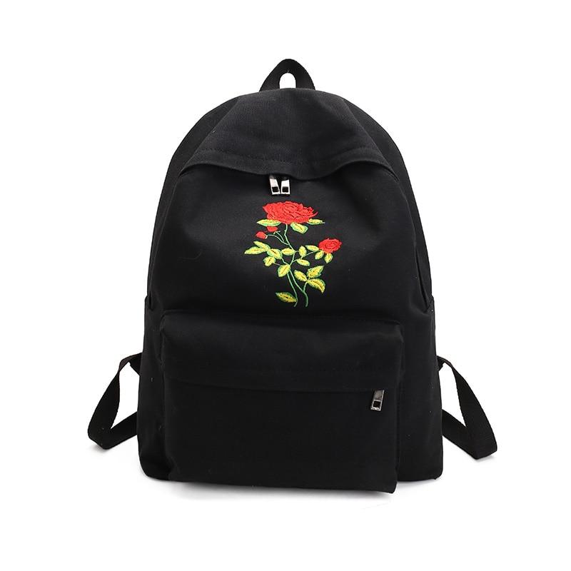 2017 Fashion Women Rose Embroidery Vintage Canvas Backpack Female Teenagers School Backpacks Travel Bag Girl Casual La Mochila