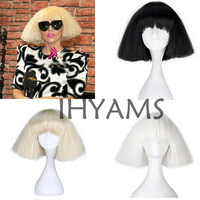 Lady Gaga Wig Black Blonde White Synthetic Hair Cosplay Wig Halloween Party Costume Wigs + Wig Cap